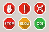 Vector warning, stop signs icons in flat style with shadow