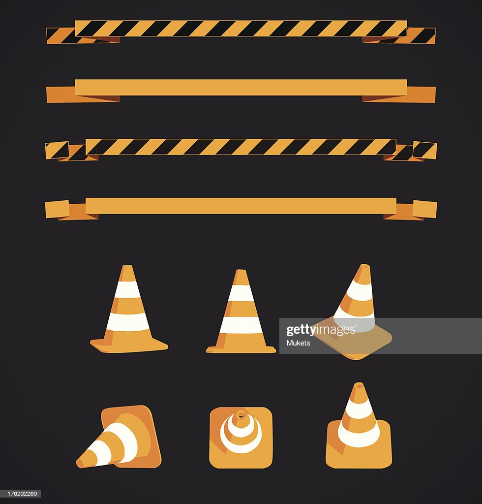Vector warning strips and cones