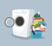 Vector washing machine. Flat cartoon illustration