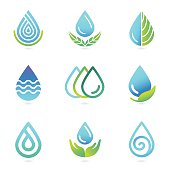Vector water and oil logo design elements