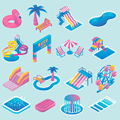 Vector water park flat isometric icon set