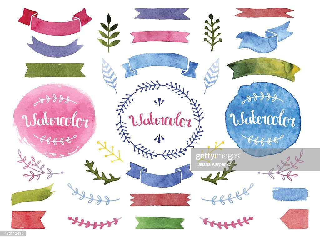 Vector watercolor collection