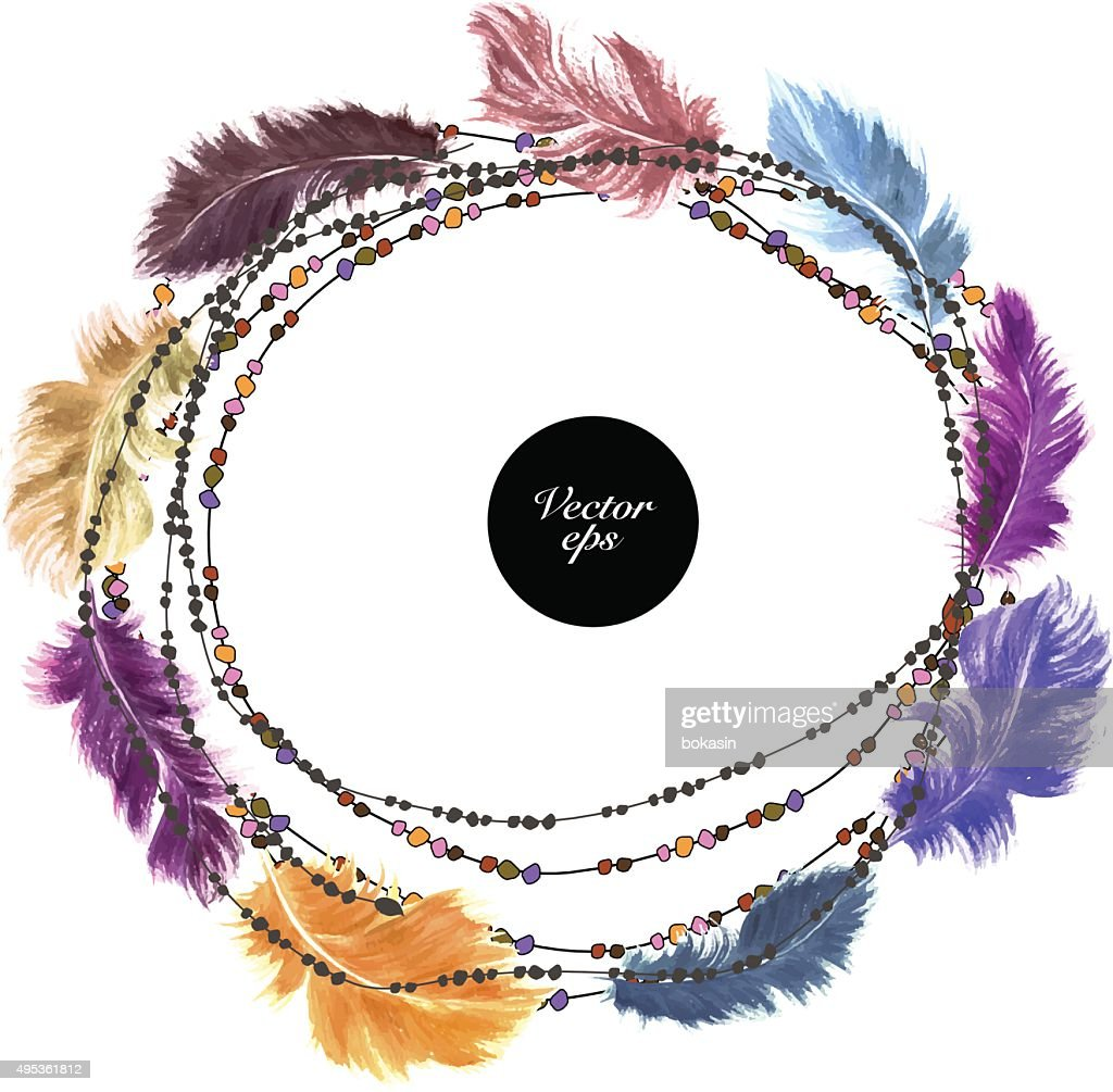 Vector watercolor feather decorative wreath with beads