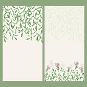Vector watercolor floral banner. Hand draw herbal border