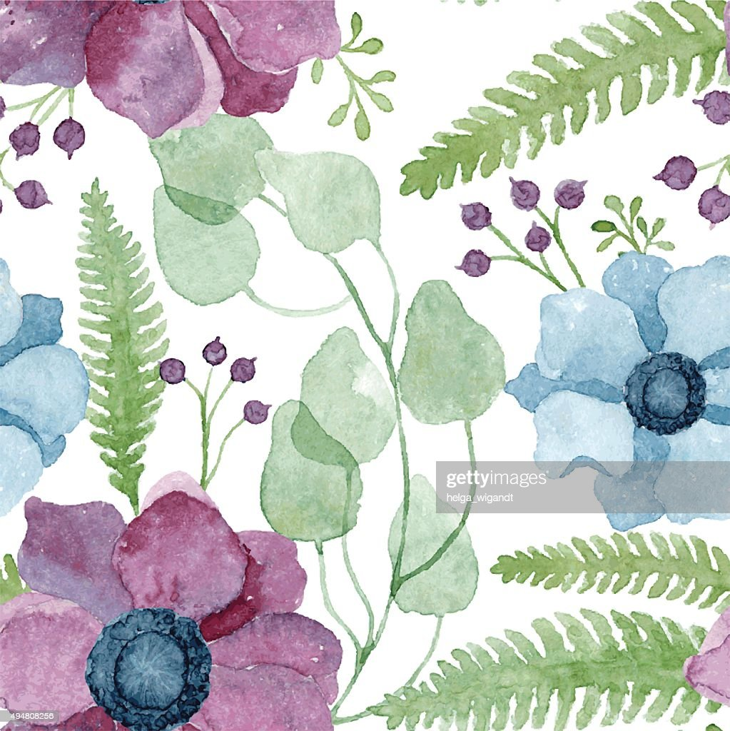 Vector watercolor floral pattern with purple and blue anemone flowers