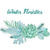 Vector Watercolor Floristic Composition With Succulent