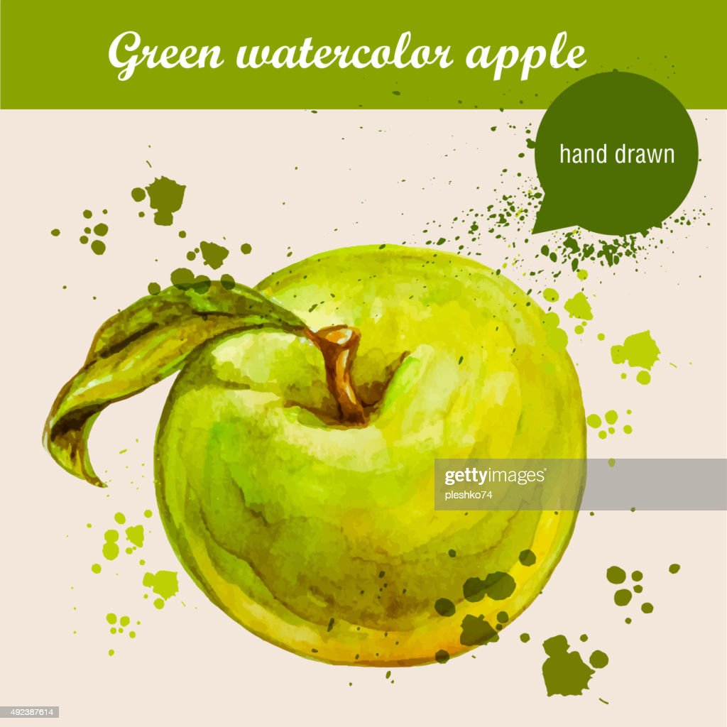 Vector watercolor hand drawn green apple with leaf and watercolor drops