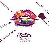 Vector watercolor illustration of colorful womens lips and makeup brushes.