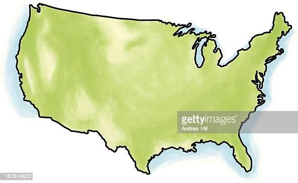 illustrations, cliparts, dessins animés et icônes de vecteur de l'aquarelle carte des états-unis, isolé sur fond blanc - gulf coast states