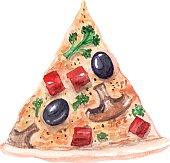 vector watercolor pizza.