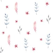 Vector watercolor seamless pattern with flowers. Floral design.