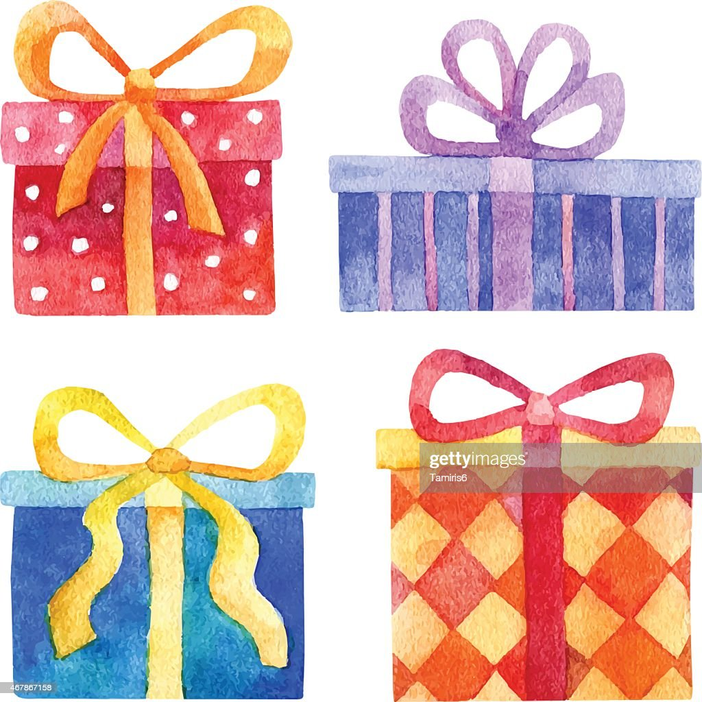 Vector watercolor set of gift boxes