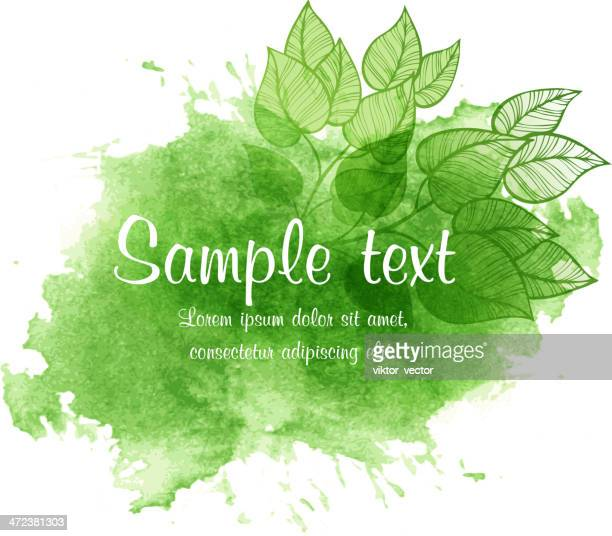 Vector watercolor spring illustration with leaf