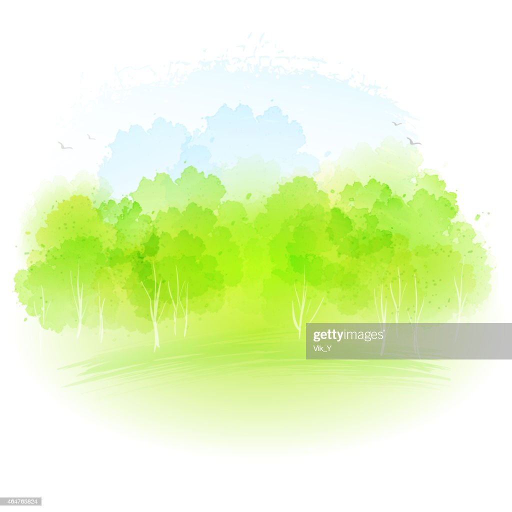 Vector watercolor spring landscape