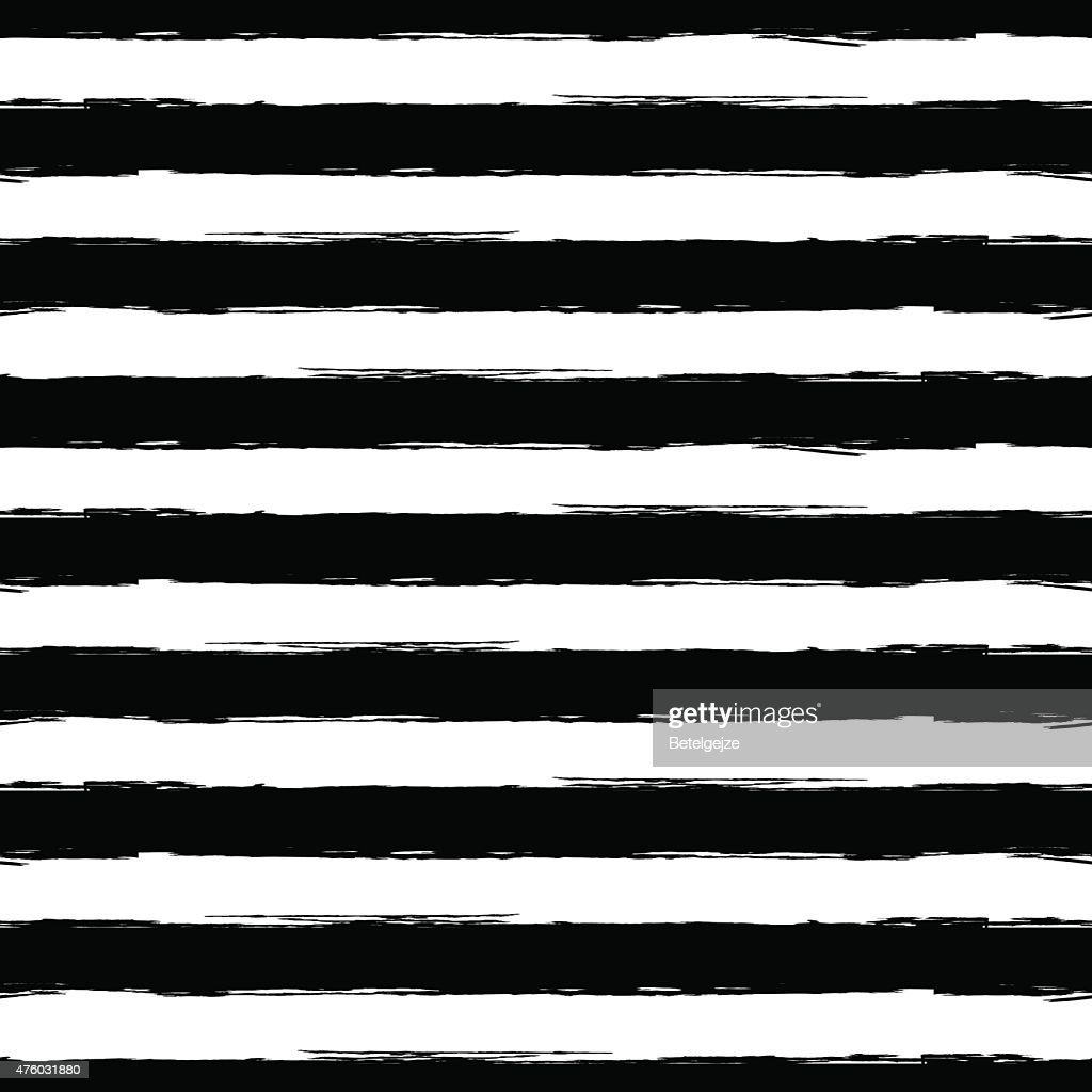 Vector watercolor stripe seamless pattern. Abstract black and white background.