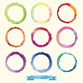Vector watercolors circles and texture of crumpled paper