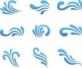 Vector wave icons, set of decorative wavy shapes on white