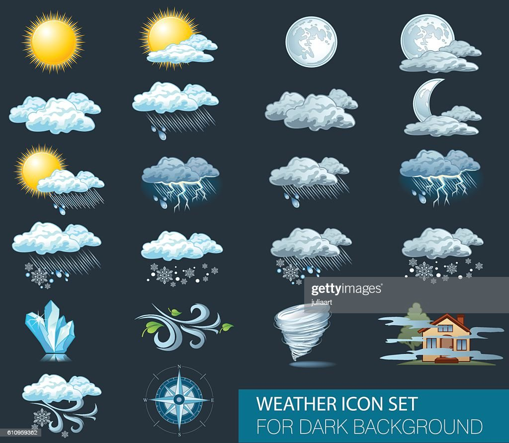 Vector weather forecast icons with dark background