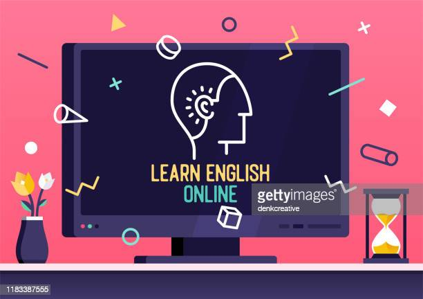 vector web banner design for learn english online - english culture stock illustrations