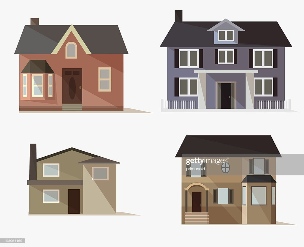 vector web icons set of stylized houses