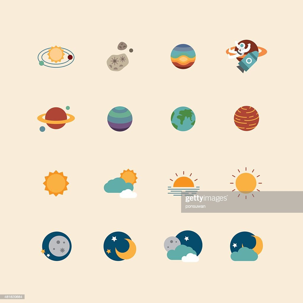 vector web icons set - space sun and moon