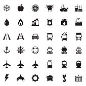 Vector web icons, transport, industrial icons set
