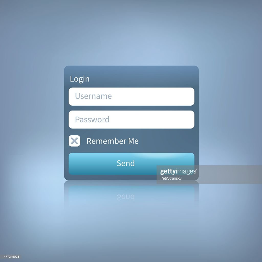 vector web login panel with button on blue background