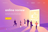 Vector web page concept design with online review theme - office people stand at big digital tablet watch shining screen with five stars.