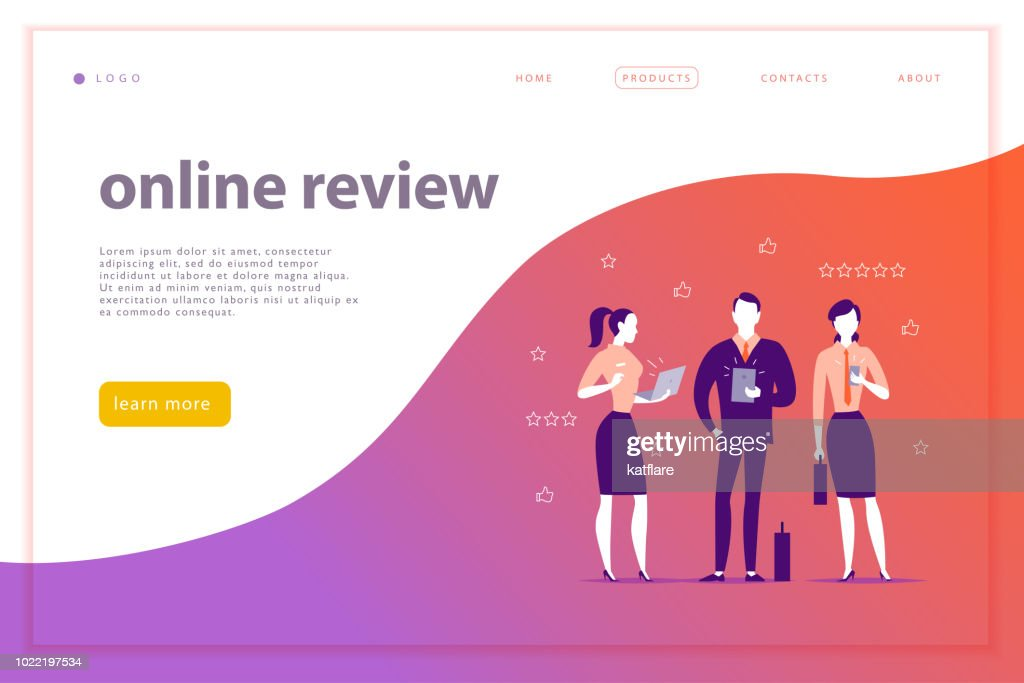 Vector web page concept design with online review theme.