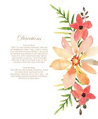 Vector wedding invitation with floral background. Hand drawn wat