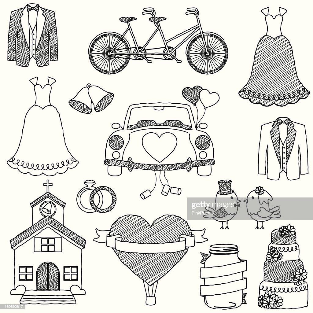 Vector Wedding Themed Doodles