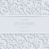 Vector White 3d Vintage Christmas or Invitation Cards Background