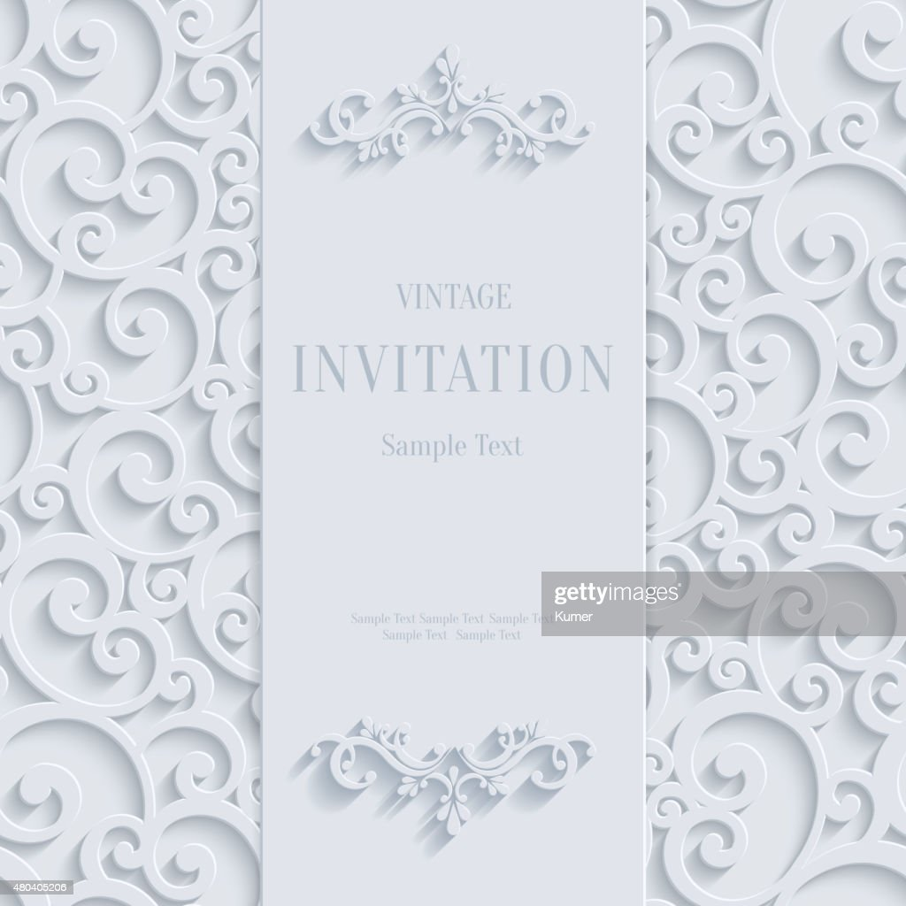 Vector white 3d vintage invitation card with swirl damask pattern vector white 3d vintage invitation card with swirl damask pattern vector art stopboris Images