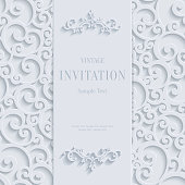 Vector White 3d Vintage Invitation Card with Swirl Damask Pattern