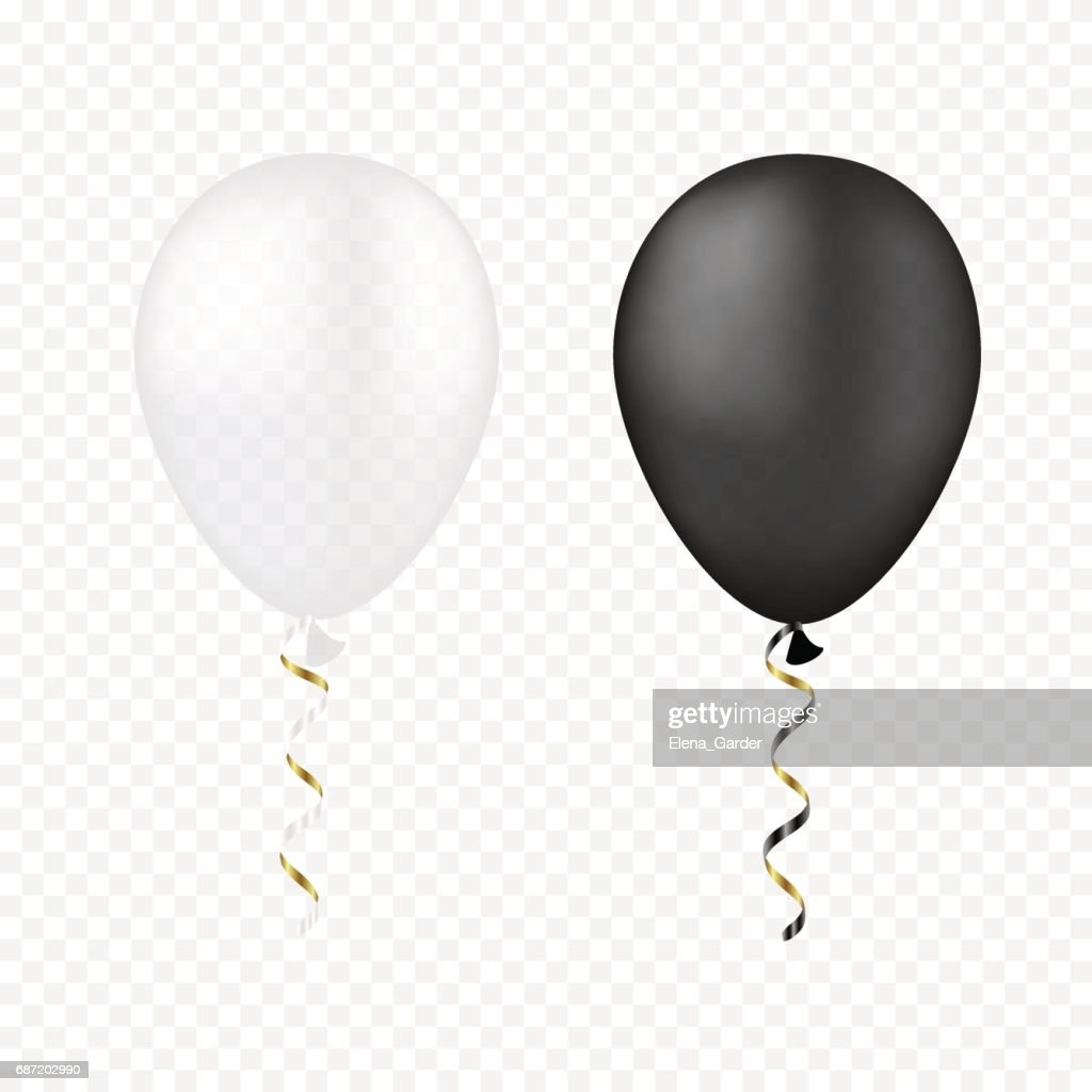 Vector white and black balloons on a transparent background. 3d realistic happy holidays flying air helium balloon