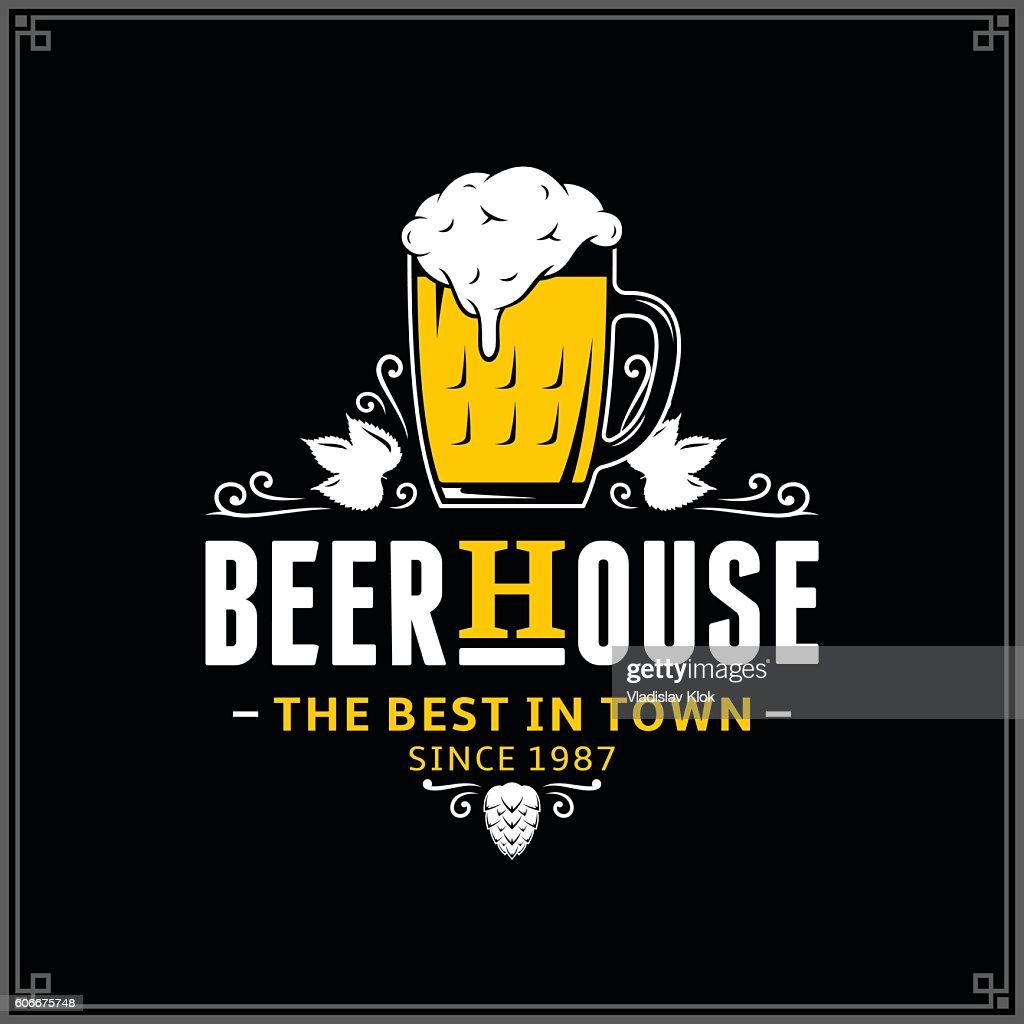 Vector white and yellow vintage beer house label