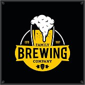 Vector white and yellow vintage brewing company label