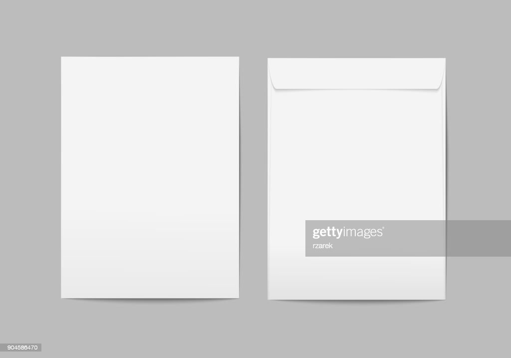 Vector white blank C4 envelope with transparent background.