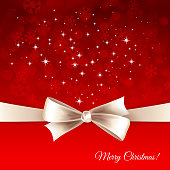Vector white bow, sparkles and words Merry Christmas on red