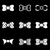 Vector white bow ties icon set