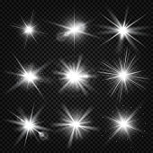 Vector white burst rays, glowing light, stars bursts with sparkles isolated on transparent background