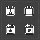 Vector White Calendar Icons