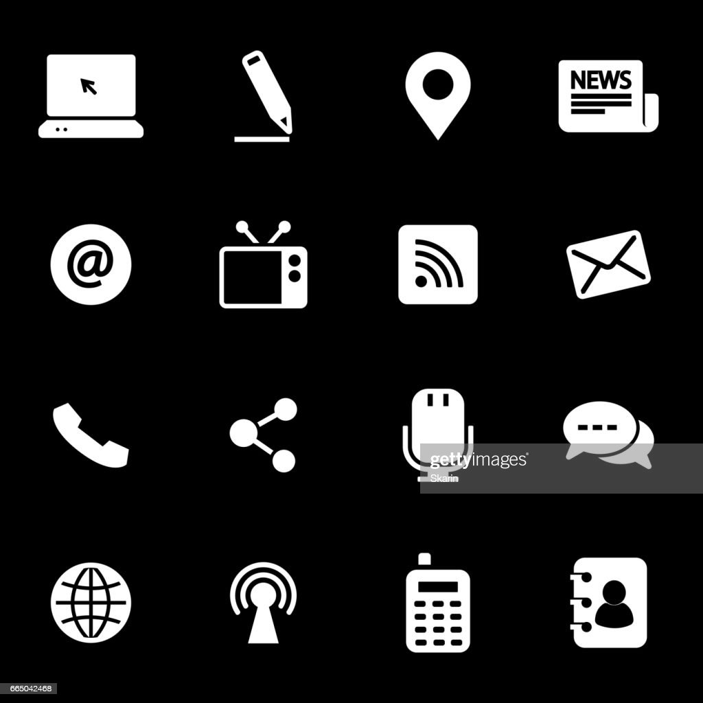 Vector white communication icons set