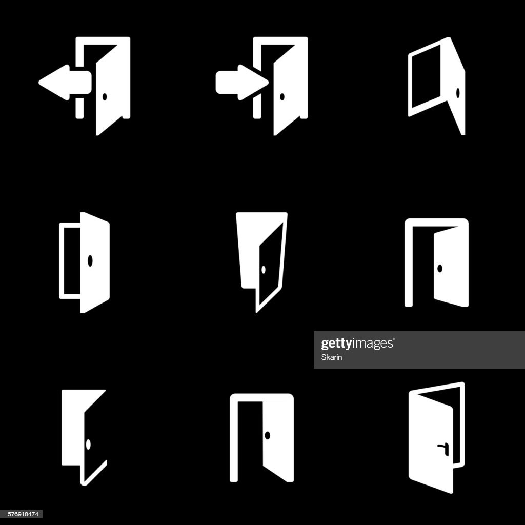 Vector white door icon set