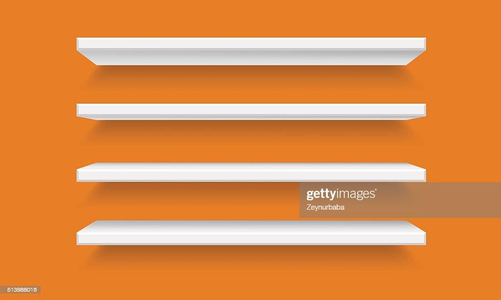 Vector white Empty Shelf Shelves Isolated on orange Wall Background