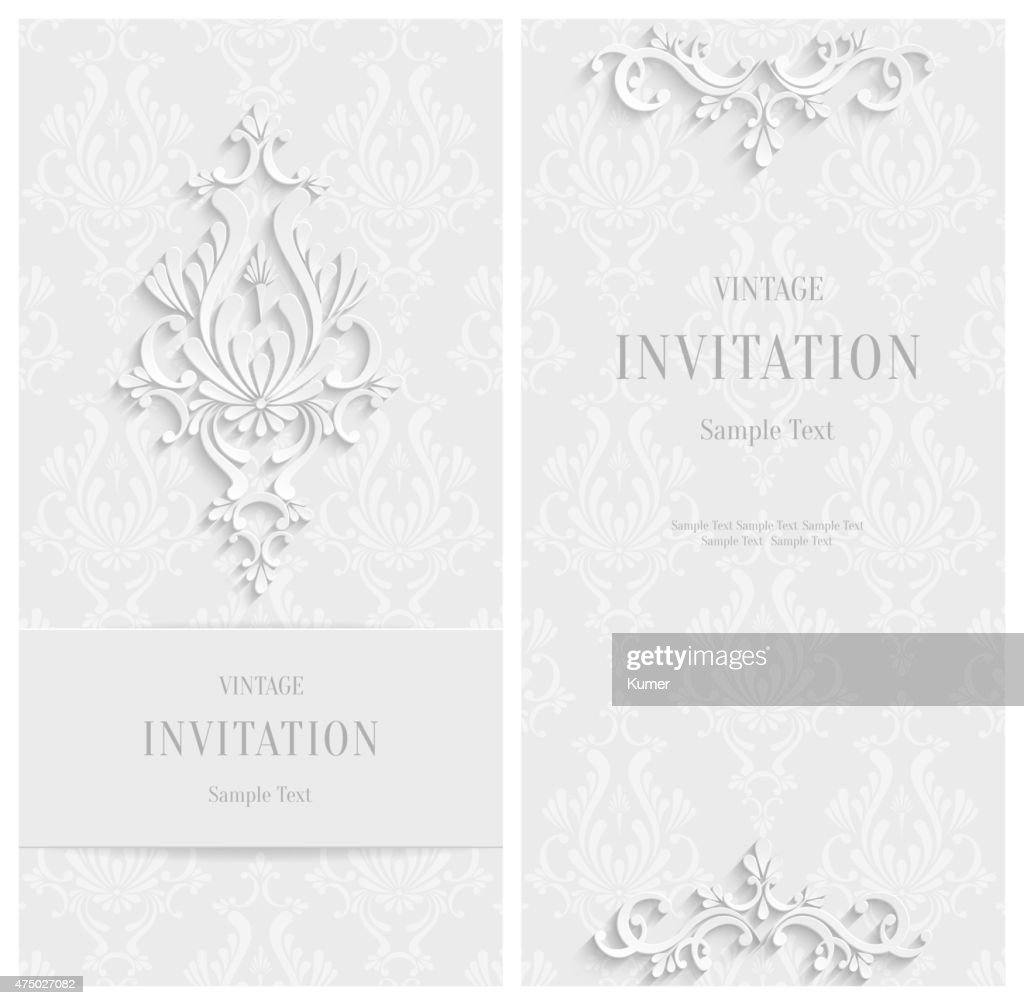Vector White Floral 3d Background. Template Christmas or Invitation Cards
