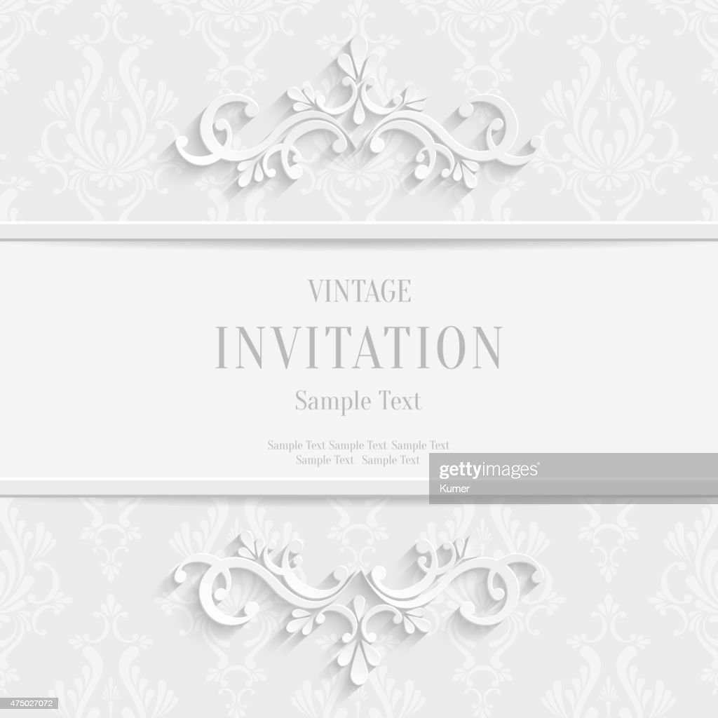 Vector White Floral 3d Christmas and Invitation Cards Background