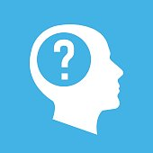 Vector white human head, face profile silhouette with question mark