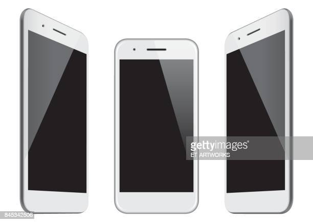 vector white mobile phone templates - mobile phone stock illustrations, clip art, cartoons, & icons