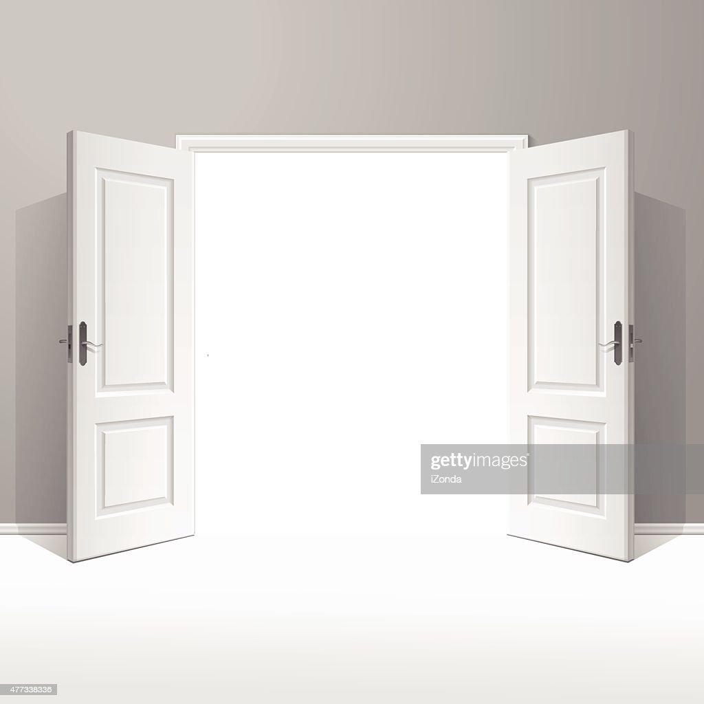 Vector White Open Door with Frame Isolated on Background
